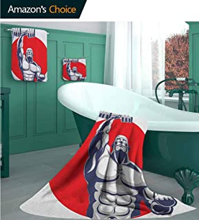 Fitness Luxury Decorative European Bath Towel(3-Piece Packed), Muscular Man Lifting Barbells Body Builder Icon Design Pattern Bathroom Set, Highly Absorbent Multipurpose Bathroom Towel for Hand,Face