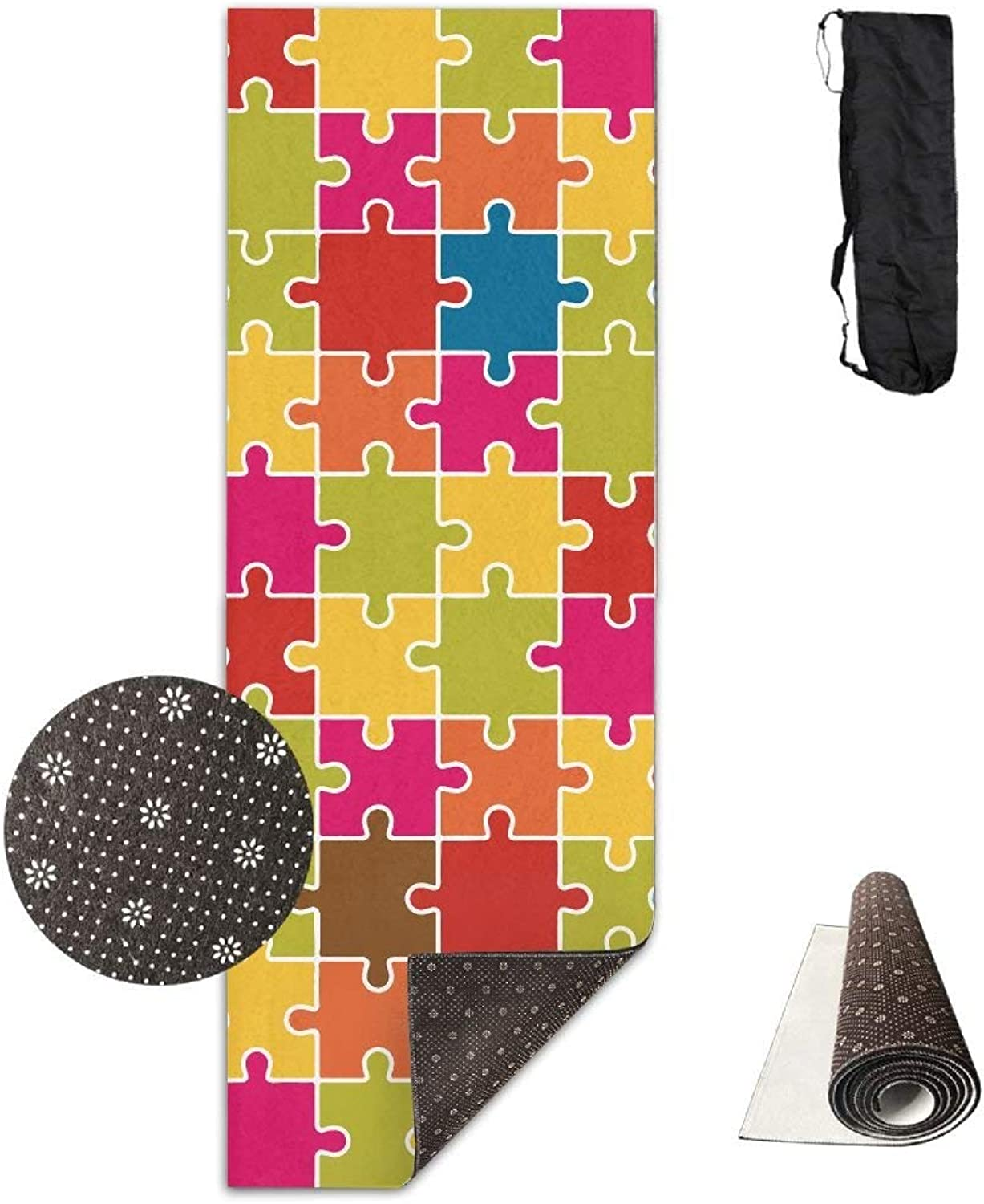 Jigsaw Puzzle Pieces Icon Pattern colorful Yoga Mat  Advanced Yoga Mat  NonSlip Lining  Easy to Clean  LatexFree  Lightweight and Durable  Long 180 Width 61cm