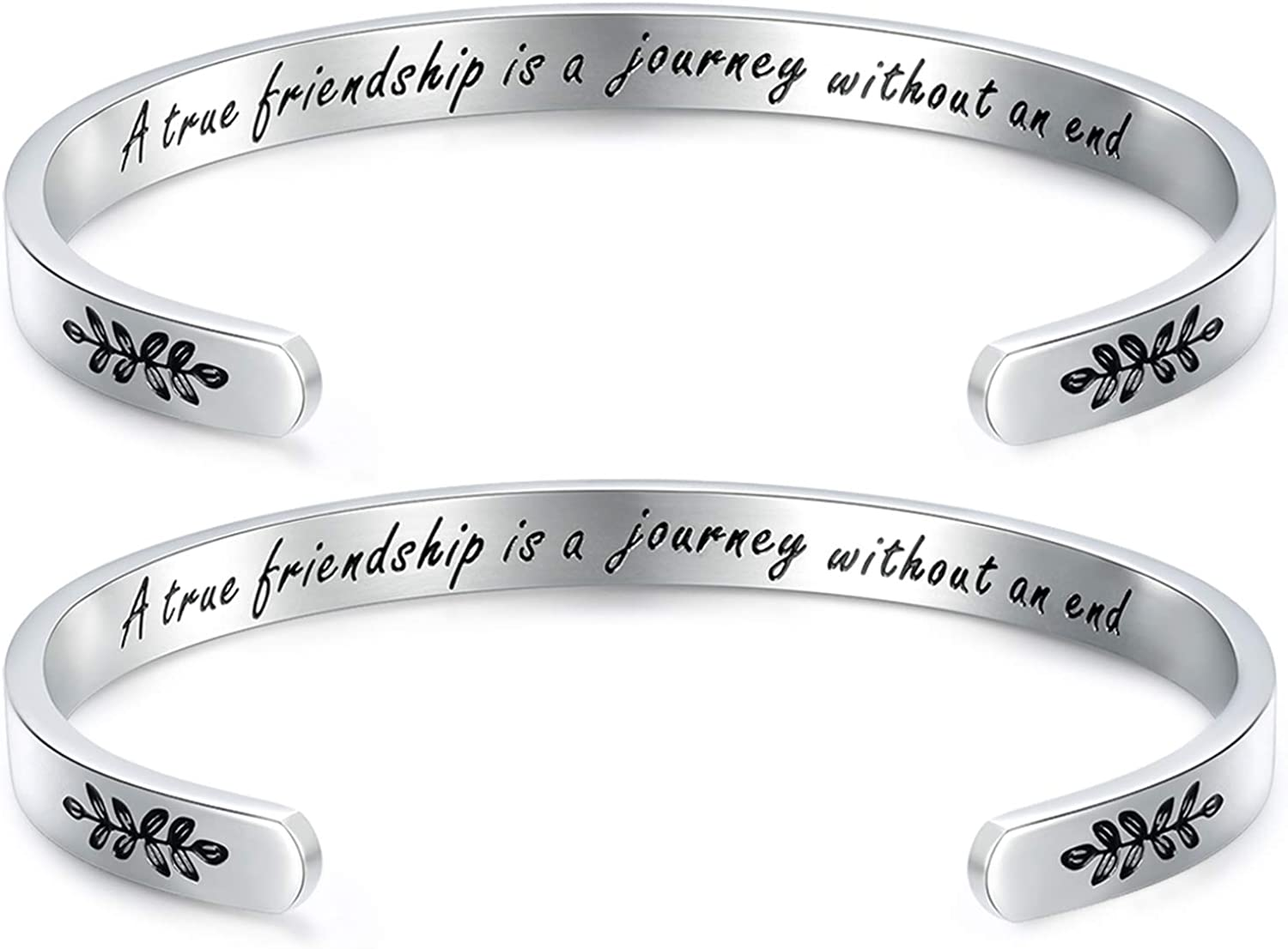 CERSLIMO Inspirational Bracelets for Women Personalized Positive Message Engraved Friends Bracelets Encouragement Friendship Cuff Bangle for Birthday Christmas