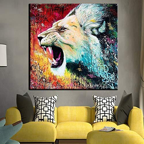 KWzEQ Leinwanddrucke Angry Löwe für Plakate und Bilder Kunstwerk Wandkunst Dekor für Wohnzimmer70x70cmRahmenlose Malerei