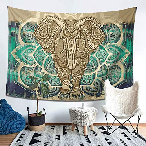 Bohemian Elephant Tapestry - Mandala Boho Vintage Watercolor Yoga Tapestries Wall Hanging Indian Art Home Decoration Bedroom Decor Living Room Door Curtain Balcony Sheer Room Divider 78.7' × 59.1'