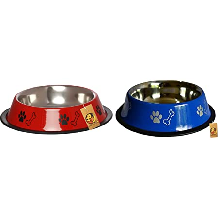 Foodie Puppies Stainless Steel Combo Offer Paw Bone Printed Radiant Red and Azure Blue Food Water Feeding Bowl for Dogs & Puppies (Medium, 700ml Each)