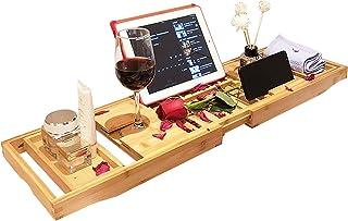 Home Portable Bamboo Bathtub Rack - Expandable Bamboo...