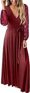 Spadehill Women's Faux Wrap V-Neck Lace Sleeve Maxi Dresses