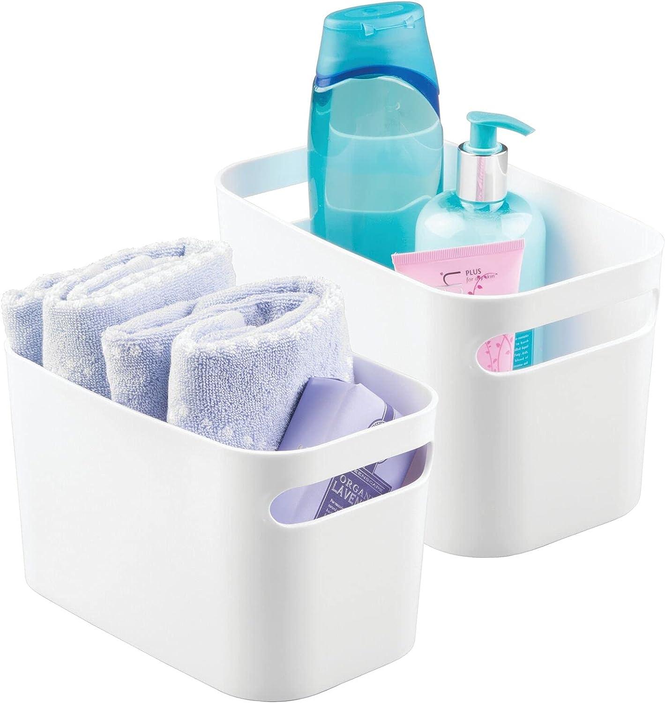 mDesign Deep Plastic Bathroom Vanity Max 85% OFF - Max 60% OFF Storage with Bin Handles