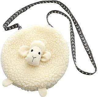 Little Girl's Plush Purse Cute Sheep Cartoon Mini Crossbody Bag Kids Toddler Children Fashion Cellphone Coin Purse Card Wallet Toy Satchel Shoulder Bag Beige