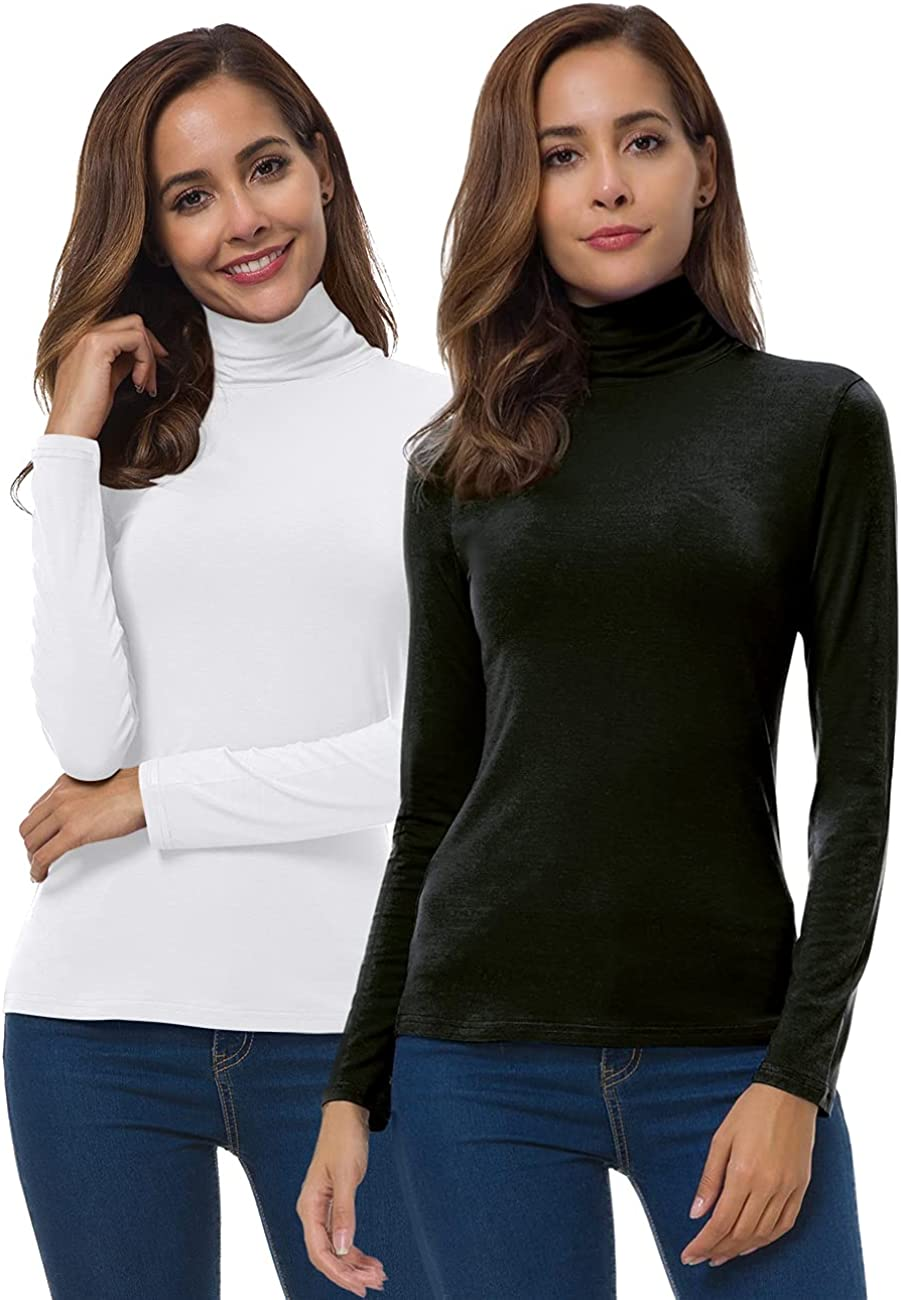 VOBCTY Max 42% OFF Womens Alternative dealer Long Sleeve Turtleneck Active Slim Shi Lightweight
