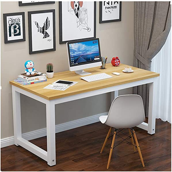 KCPer Home Office Computer Desk Computer Table Office Desk Writing Desk PC Laptop Study Table Workstation Wood And Metal 47 Modern Rectangular Simple Table