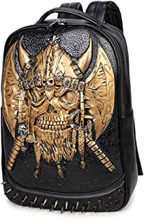 LZRDZSWYXGS Pirate Raised Fluorescent Bag Men and Women 3D Axe Computer Backpack Tide Coolheaded PU Leather Student Bag Night Luminous Shoulder Bag Metal Rivets Suitable for outings/Hiking/Schools