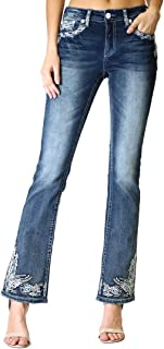 Women's Aztec Paisley Embellished Easy Bootcut Jeans | EB-61275-32