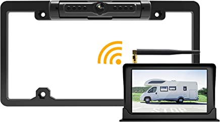 "$149 Get FOOKOO Wireless Backup Camera and Monitor Kit 5"" HD Screen License Plate Camera with Frame IP69K Waterproof Rear View Camera with Parking Lines 170° Viewing Angle Universal for All Cars"