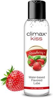 Climax Strawberry Flavored Water Based Lube-4 oz Natural Kissable Long-Lasting Lubricant for Men Women Couples, Slippery-M...