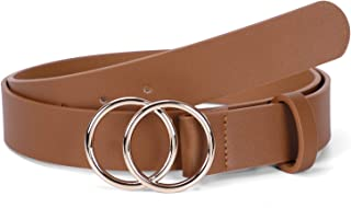 Women PU Leather Belt, WERFORU Fashion Belt with Double O Ring Gold Buckle for Jeans Dresses