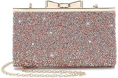 Yuenjoy Womens Rhinestone Clutch Purse Evening Bags with Bow Closure