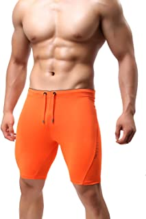 MIZOK Men's See-Through Cool Dry Capri Baselayer Tights Shorts