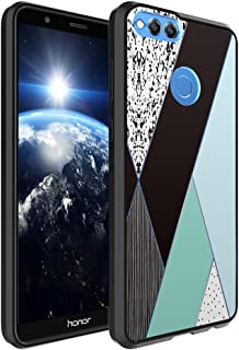 Huawei Honor 7X Case, Capsule-Case Hybrid Slim Hard Back Shield Case with Fused TPU Edge Bumper (Black) for Huawei Honor 7X - (Mint Abstract Geometric)