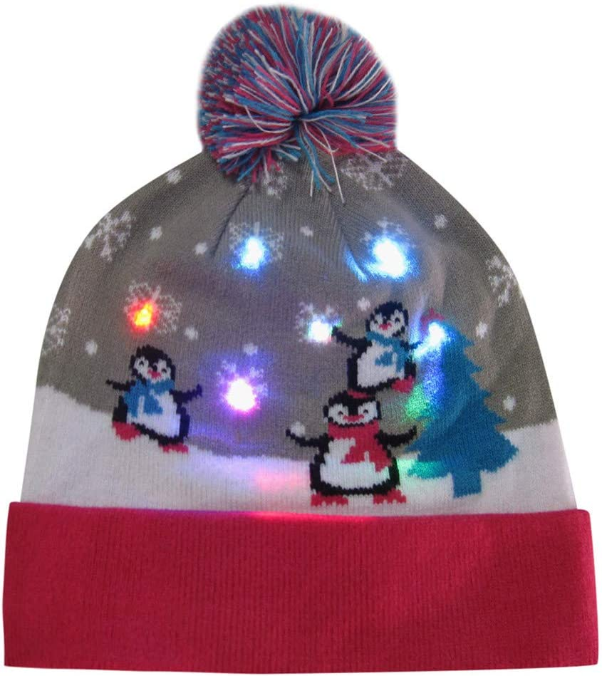 Christmas Light-up Hat Double Layer LED Beanie Hat Colorful Xmas Knit Hat Snowman Penguin Prit Hairball Hat for Holiday Party