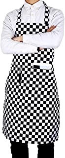 Flying Frog Bib Apron with Pockets for Women and Men - Easy to Wear - Black/White Checkered Apron