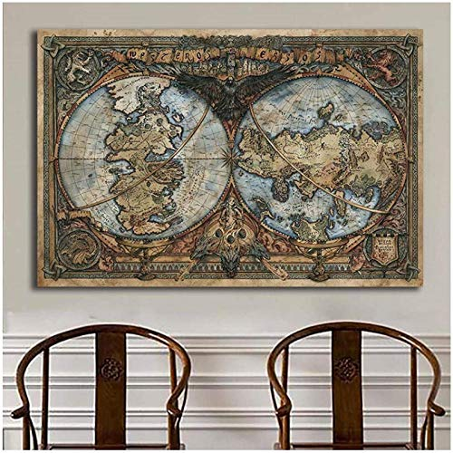 Kissherely World Map On Wall Art Picture Thrones Game TV Posters and Prints Canvas Painting for Living Room Office Decor-60X80cm Frameless