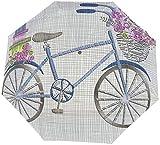 Ombrello manuale a tre pieghe per bicicletta con piccoli fiori blu in cesto e regali Ombrello nano di grande diametro pieghevole a tre ante Protezione solare che copre sole e pioggia-Manuale