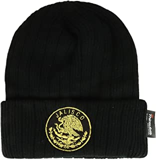 Trendy Apparel Shop Mexican Eagle Emblem Embroidered 3M Thinsulate Ribbed Cuff Beanie