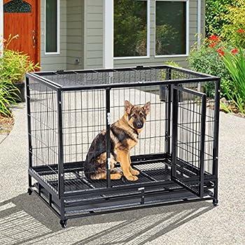 Pawhut Cage pour Chien Animaux Cage de Transport sur roulettes 2 Portes verrouillables Plateau Amovible Max. 50 Kg 109L x 76l x 87H cm Noir