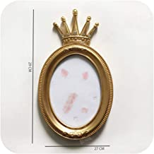 Golden Crown Photo Frame Creative Resin Picture Desktop Frame Luxury Photo Frame for Wedding Home Decorative Gift Craft,C-7 inch
