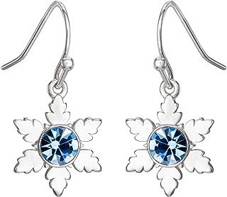 Disney Frozen 2 Fine Silver Plated Blue Crystal Snowflake Dangle Earrings