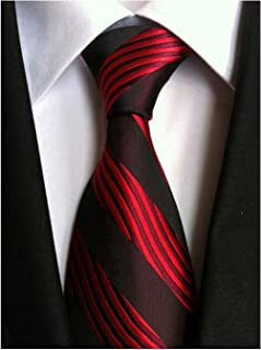 Men's Large Striped Jacquard Woven Silk Tie Formal Business Necktie