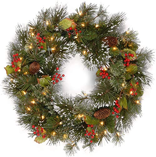 BestFire Christmas Wreath, 15.7 Inch Crestwood Spruce Wreath with Pine Cones, Golden Berries Christmas Decorations Christmas Pinecone Wreaths for Front Door, Wall Home Bar Hotel Xmas Party Supplies