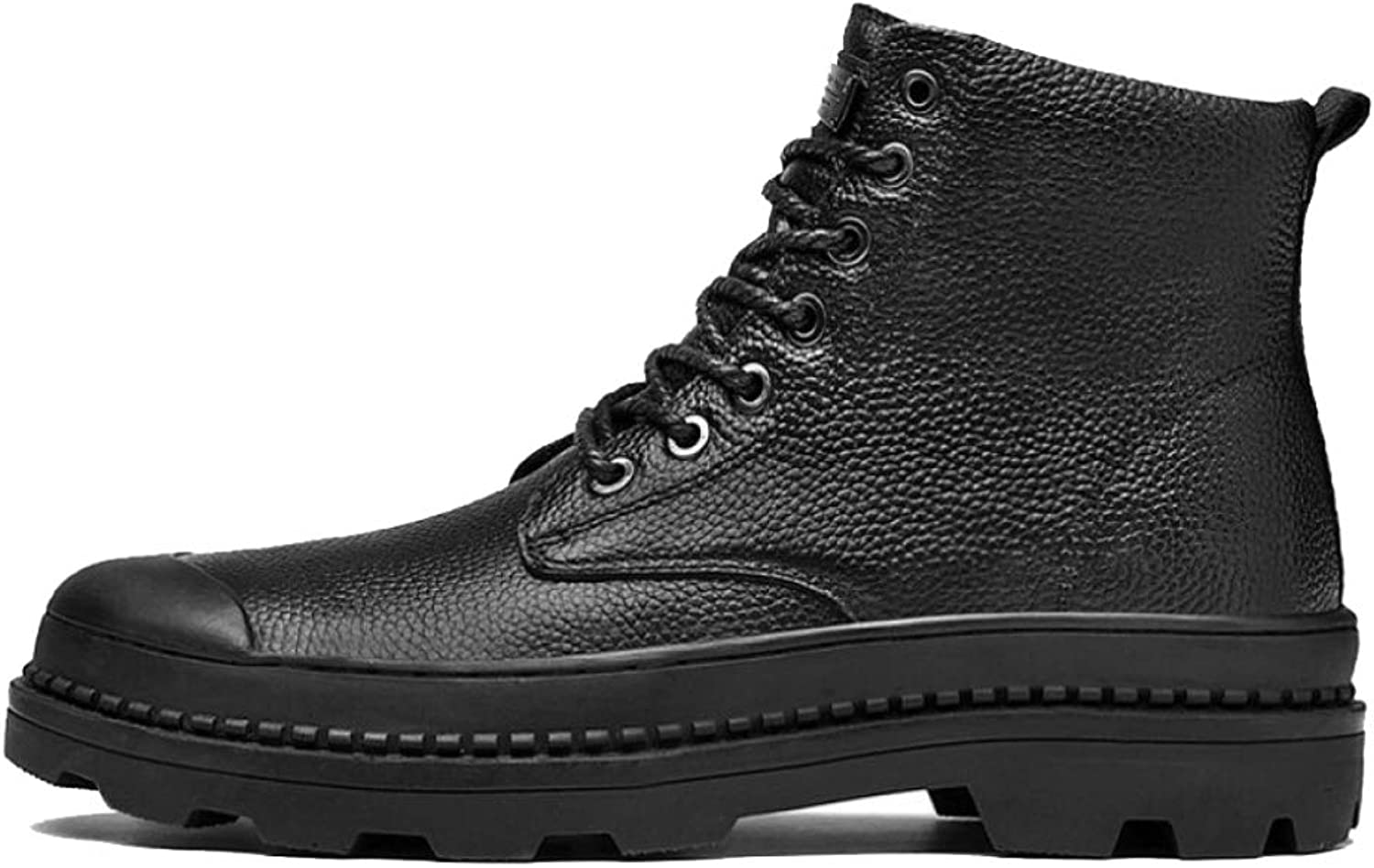 NDHSH Mens Leather Lace Up Boot Industrial Work Safety Boots Dealer Slip Boots Casual Smart Round Toe Outdoors Boots