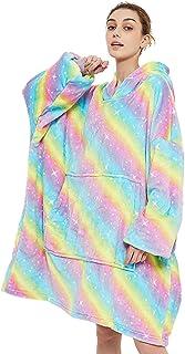 GOMINIMO Oversized Unisex Hoodie Sweatshirt, Fleece Warm Giant Fluffy Hoodie Blanket, Hoodie for Sleep with Large Front Po...