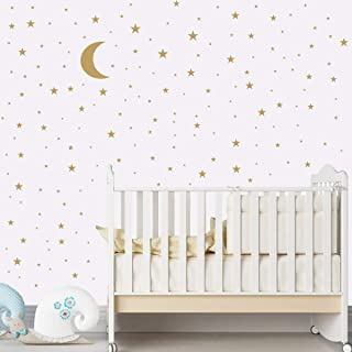 Magic Star & Moon wall stickers Colorful Animals Horse Stars Wall Decals For Kids Girls Room DIY Poster Wallpaper Home Decor wall stickers for Bedoom,Living Room,Gold