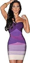 Gloshop Women's Sexy Grey Strapless Ombre Bandage Dress