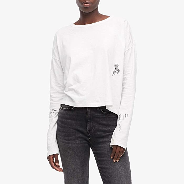 rag and bone  Tattoo Embroidered Cropped Long Sleeve (White) Womens Clothing