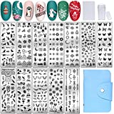 NICENEEDED Nail Art Stamping Kit With 12PCS Nail Stamp Templates, 1 Clear Stamper, 1 Scraper Included Nail Stamp Tool Set for Nail Decoration