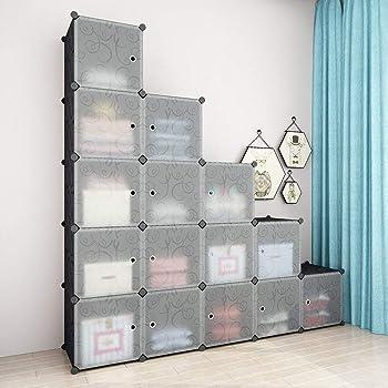 Finether-Armario Modular Rizado con Dibujos(Organizador con 20 Cubos para Ropa Zapatos Juguetes Libros Chucherías)Negro: Amazon.es: Hogar