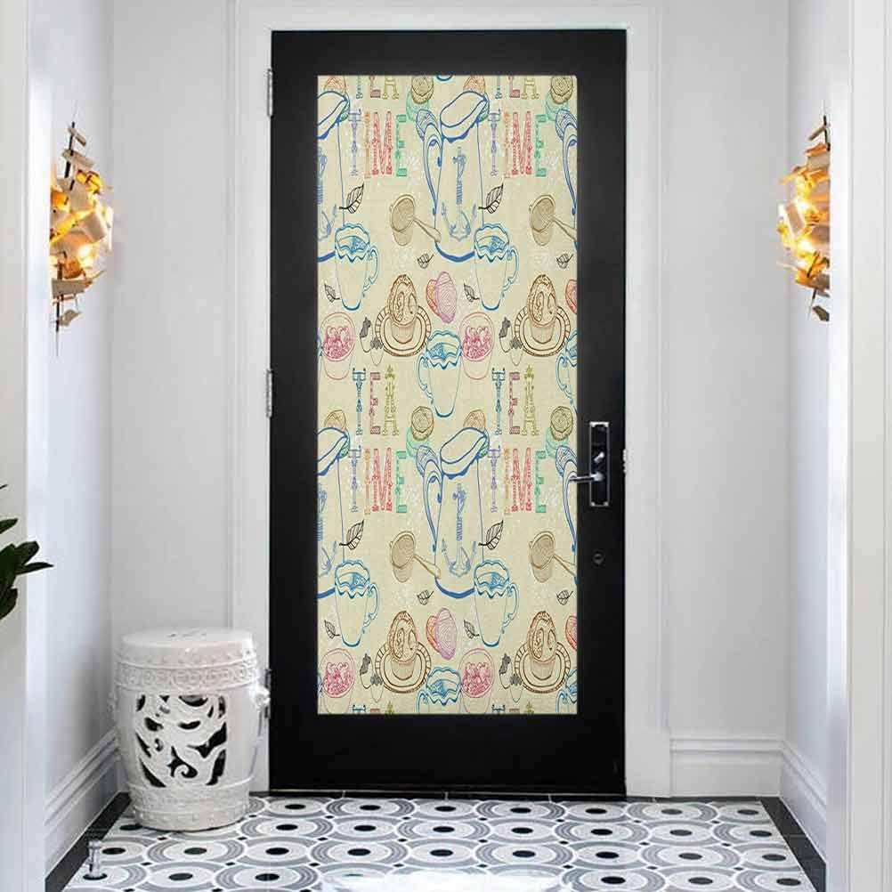 3D Door Stickers Free shipping anywhere in the nation Indianapolis Mall Decal Mural Art Colored Sticker Pale Tea Party