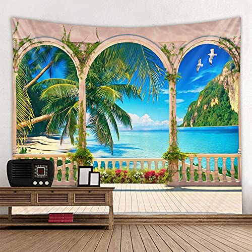 Playa Balcón Tapiz de Paisaje Hermoso Bosque Marino Paño para Colgar Paño de decoración de Pared Tamaño Extra Grande Opcional A6 73x95cm
