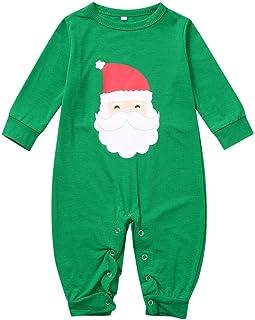 Ropa De Navidad para BebéS Mono Verde De Manga Larga ImpresióN De Santa Claus Mameluco Pijama Casual Vestido De Fiesta De Navidad Regalo Juego De Roles Traje De Juego 3-18 Meses Ropa De Bebe