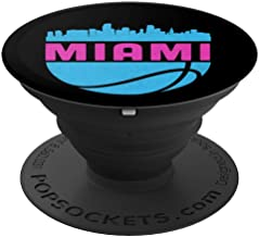 Vintage Miami Florida Cityscape Retro Basketball - PopSockets Grip and Stand for Phones and Tablets