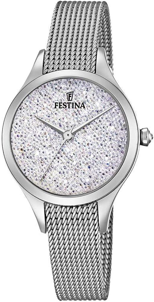 festina  orologio analogico da donna con cinturino in acciaio inox f20336/1