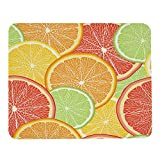 Wozukia Grapefruit Lemon Slices Mouse Pad for Laptop Computer Summer Citrus Fruit Orange Red Gaming Mouse Mat Non-Slip Rubber Base Mouse Pads Gift for Women Men Friends Colleagues 9.5x7.9 Inch