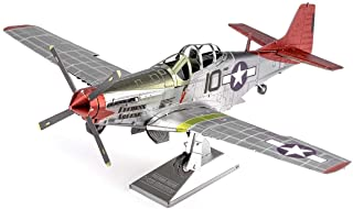 Metal Earth Fascinations ICONX Tuskegee Airmen P-51D Mustang Red Tail 3D Metal Model Kit