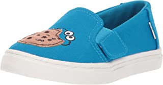 TOMS Sesame Street X Cookie Monster Applique Tiny Luca Slip-Ons 10013646 (Size: 5) Blue