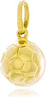 Solid Gold Soccer Ball Charm Hollow Pendant Made in Italy of 14K Yellow Gold 9.9mm in Diameter | 1.2g