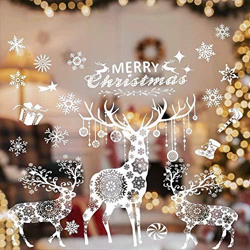 Weihnachten Fensterbilder, Fensteraufkleber Fensterdeko Fensterfolie Wandsticker Weihnachten Rentier Aufkleber Statisch Haftende PVC Aufkleber für Weihnachts-Fenster Dekoration