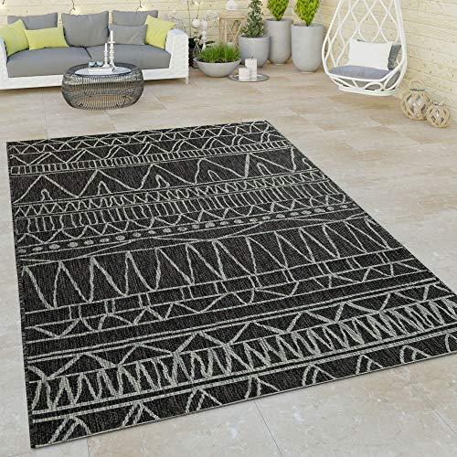 Paco Home In- & Outdoor Flachgewebe Teppich Modern Ethno Muster Zickzack Design Schwarz, Grösse:160x220 cm