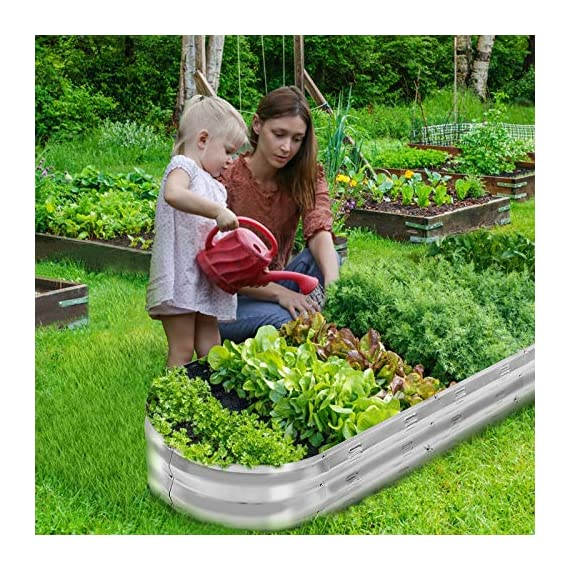 """Gadi raised garden bed kit for vegetables flower galvanized metal planter boxs designed for easy diy and cleaning not… 4 more suitable raised garden bed size and volume:67""""l x 20""""w x10""""h, 7 cu. Ft. You can cultivate plants, like vegetables, flowers, herbs in your patio, yard, garden, and greenhouse. Built to last: the raised garden bed body made of steel plates galvanized layer and 2 layers of anti-corrosion paint, strong anti-rust performance to keep your garden bed looking its best for years to come. Open-bottom garden bed: built with an open base to prevent water buildup and rot, while allowing roots easy access to nutrients. Side ventilation:side ventilation can enhance the respiration of plant roots and facilitate the removal of excess water. Keep your plants healthy!"""