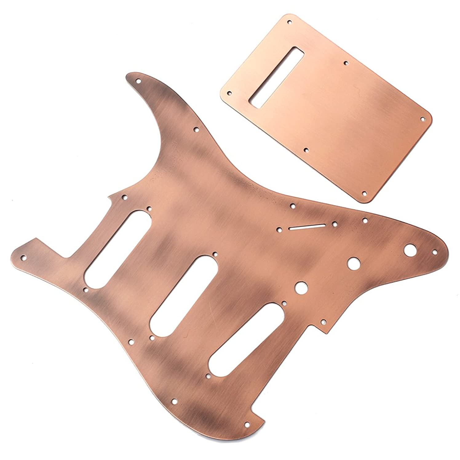 WINOMO Guitar Pickguard 3 Single Coil with Back Plate Loaded Prewired Electric for Fender Strat Stratocaster Guitar Parts Brass